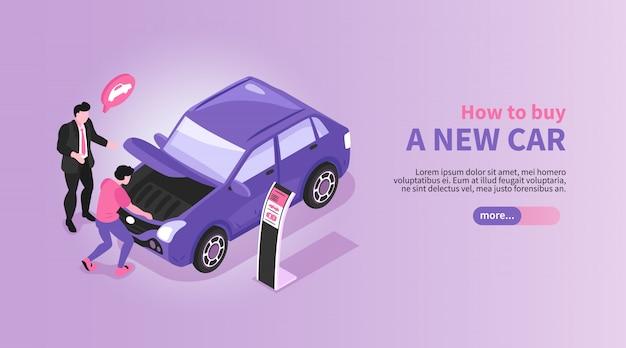 Изометрические автосалон горизонтальный баннер с автомобильным магазином менеджером и покупателем персонажей с автомобилем и текстом иллюстрации Бесплатные векторы