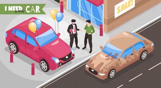 都市通りの人間のキャラクターのテキストと車のベクトル図のビューと等尺性車ショールーム下取り組成 無料ベクター