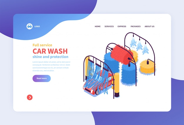 Isometric car washing services concept landing page web page design Free Vector