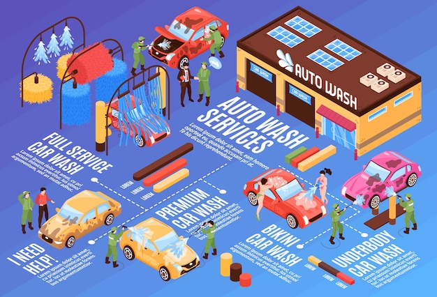 Isometric car washing services horizontal flowchart composition Free Vector