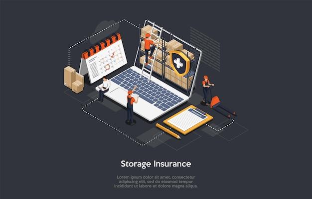 Изометрические концепция страхования грузов. Premium векторы