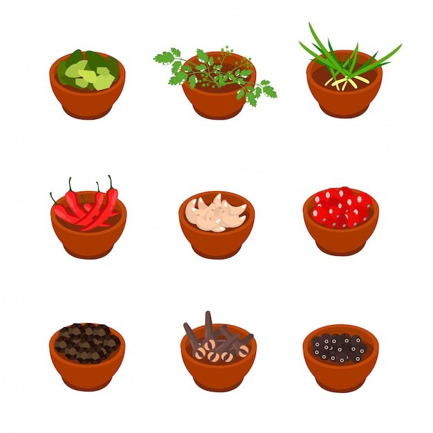 Isometric and cartoon style flavorful spices Premium Vector