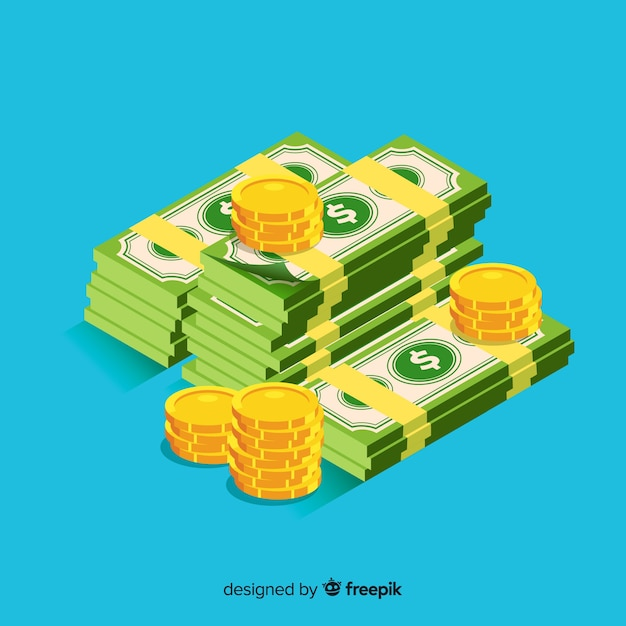 Isometric cash background Free Vector