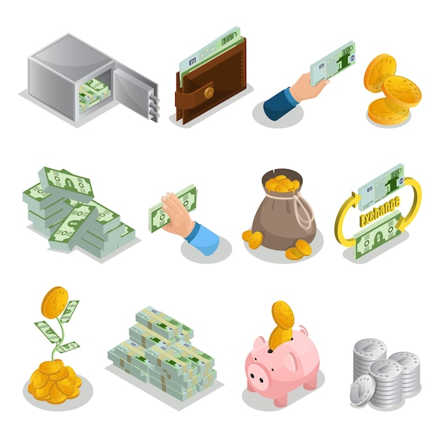 Изометрические денежные иконки с банковским сейфом, кошелек, сумка с золотыми монетами, денежное дерево, копилка, биткойны, изолированные Бесплатные векторы