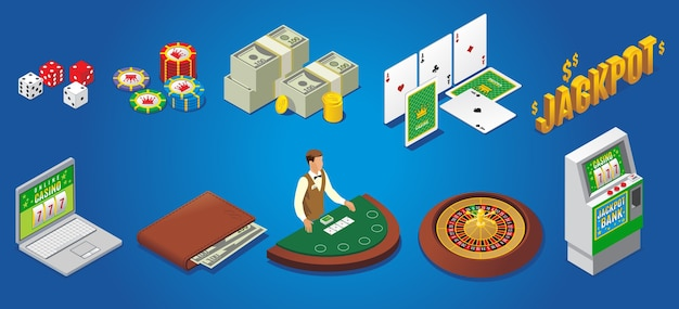 Isometric casino icons set with dice poker chips money playing cards jackpot online gambling wallet croupier roulette slot machine isolated Free Vector