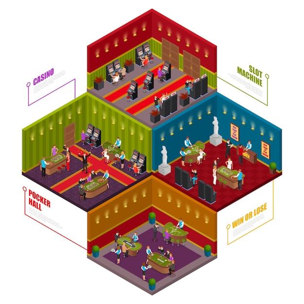 Isometric casino rooms Free Vector