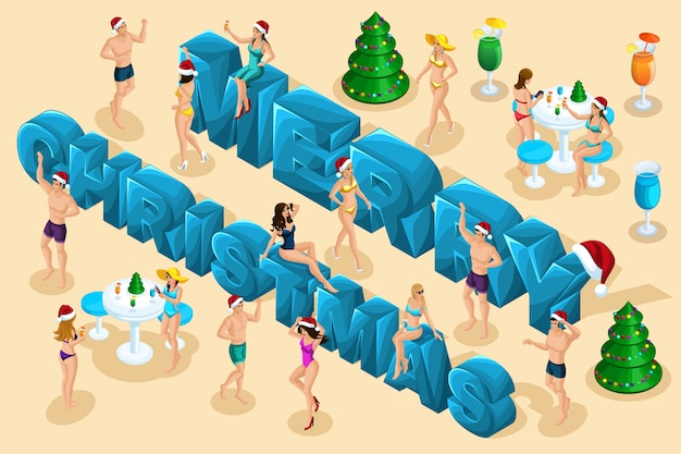Isometric celebration, men and women in swimsuits have fun against the backdrop of the big letters Premium Vector