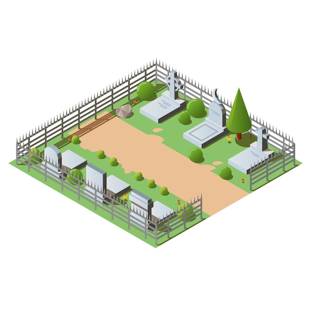 Isometric cemetery with graves, crosses and tombstones Free Vector