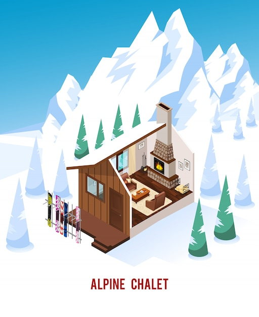 Isometric chalet with fireplace in mountains Free Vector