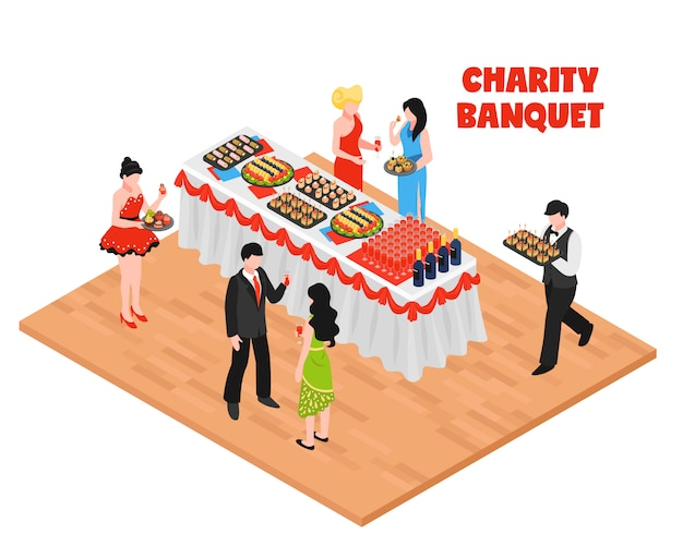 Isometric charity banquet background Free Vector