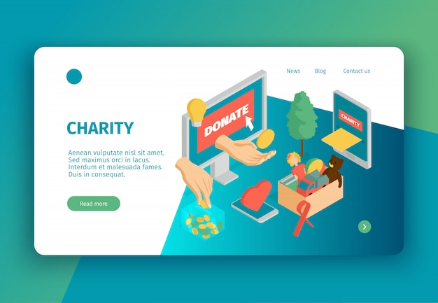 Isometric charity concept landing page with clickable links text and conceptual images of donations and electronic gadgets vector illustration Free Vector