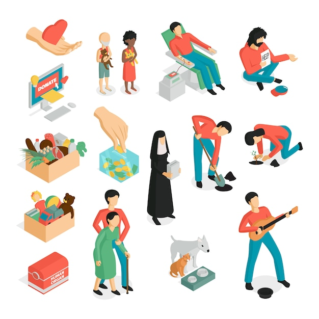 Isometric charity donation volunteers set of isolated images human characters and pictogram icons Free Vector