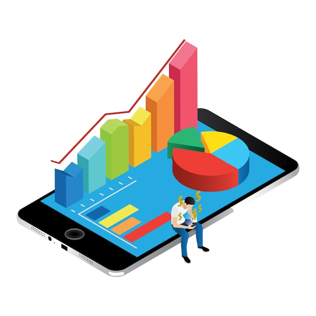 Isometric chart and graphics on iphone screen Free Vector