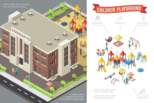 幼稚園の建物のスライドと等尺性の子供の遊び場構成スイングサンドボックスプレイハウスサンドボックスの子供と親 無料ベクター