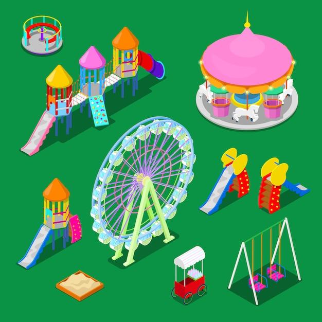 Изометрические детская площадка элементы sweengs, карусель, слайд и песочница. Premium векторы