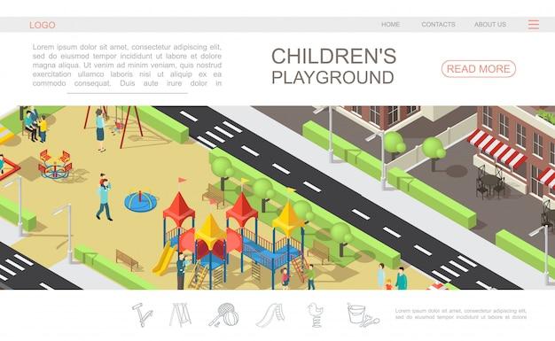 子供と親のレクリエーション公園スライドベンチスイングサンドボックスの木の建物で等尺性子供遊び場webページテンプレート 無料ベクター