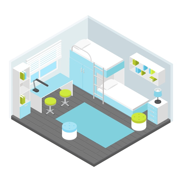 Isometric children room composition Free Vector