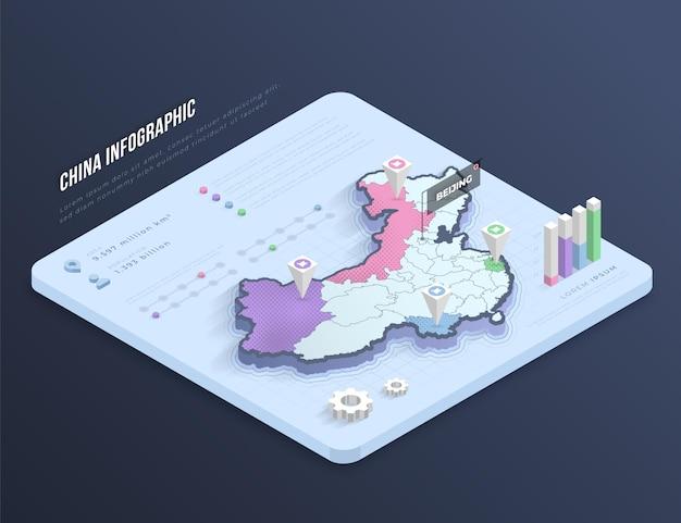 Изометрические китайская карта инфографики Бесплатные векторы