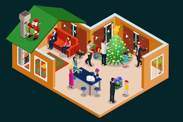 Изометрическая концепция рождественских праздников с людьми, празднующими новый год в доме, и санта-клаус с подарками на крыше изолированы Бесплатные векторы