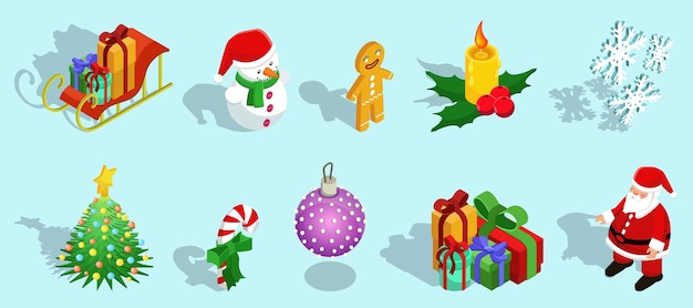 Isometric christmas icons set with sleigh snowman gingerbread man candle snowflakes fir tree candy ball gifts santa claus isolated Free Vector