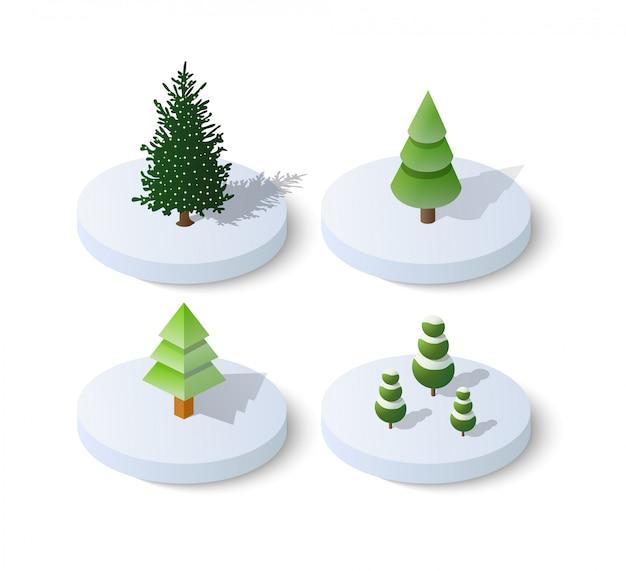 Isometric christmas tree spruce Premium Vector