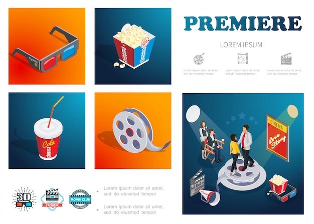 Isometric cinema composition with 3d glasses popcorn soda film reel movie director actors megaphone clapper board Free Vector