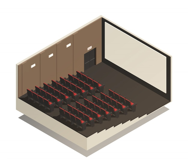 Isometric cinema composition Free Vector