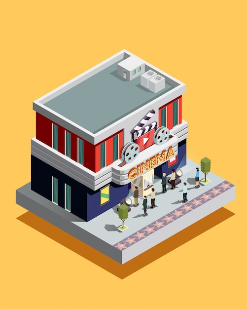 Isometric cinema illustration Free Vector