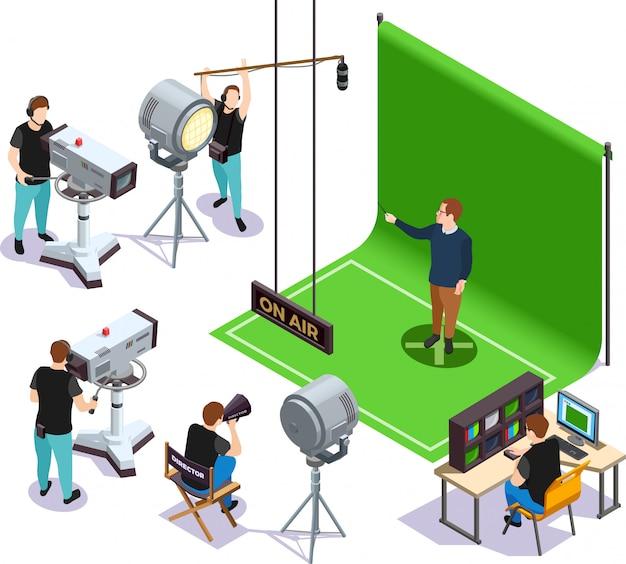 Isometric cinematograph illustration Free Vector