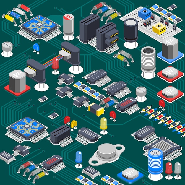 Isometric circuit board composition Free Vector