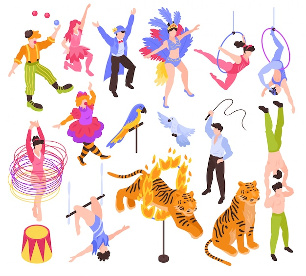 Isometric circus performers artists actors show set with isolated human characters and animals Free Vector