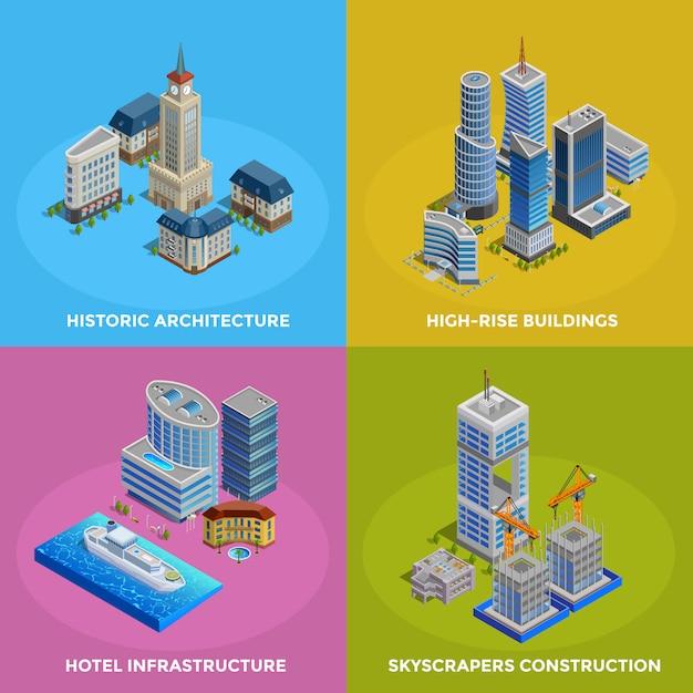 Isometric city 2x2 icons set Free Vector