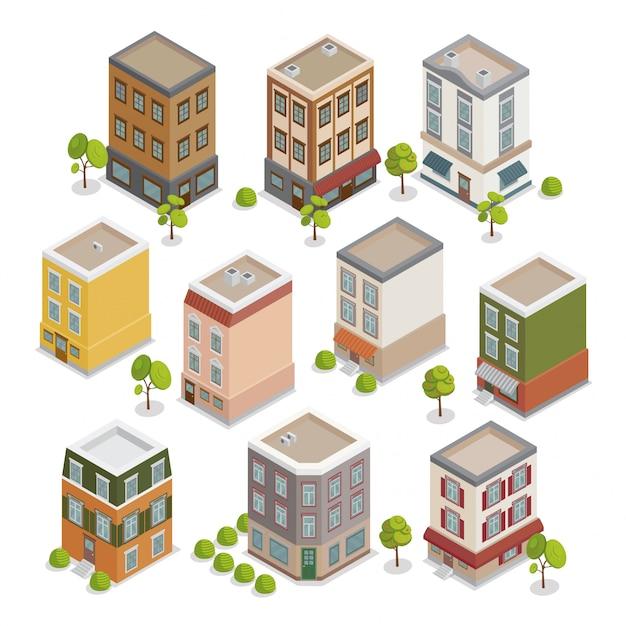 Isometric city buildings set Premium Vector
