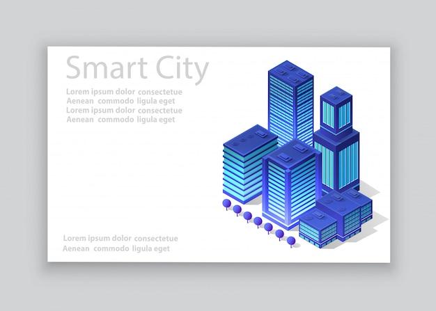 Isometric city business card Premium Vector