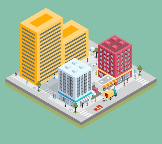 Isometric city center map with buildings, shops and roads. Premium Vector