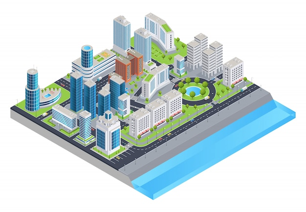 Isometric city composition Free Vector