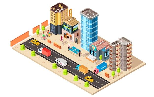 Концепция изометрического города, изолированные на белом фоне Premium векторы