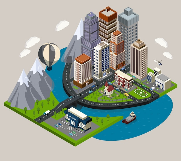 Isometric city concept Free Vector