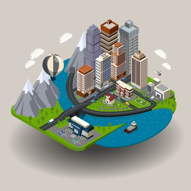 Isometric city concept Free Vector