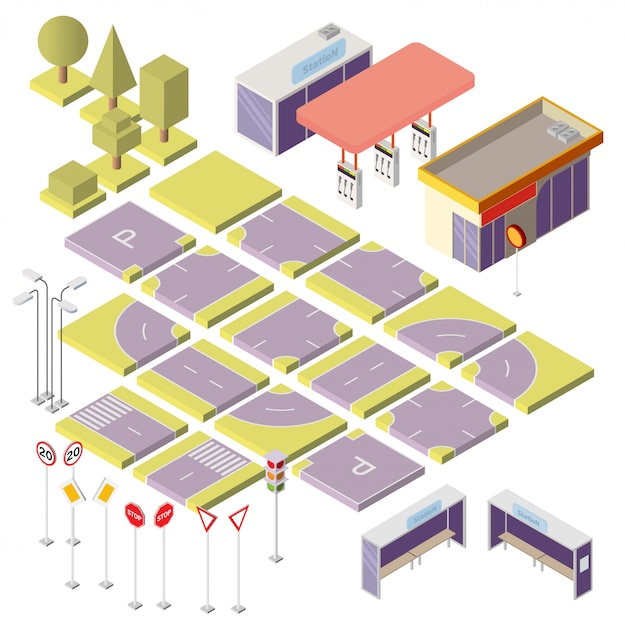 Isometric city constructor with 3d elements Free Vector