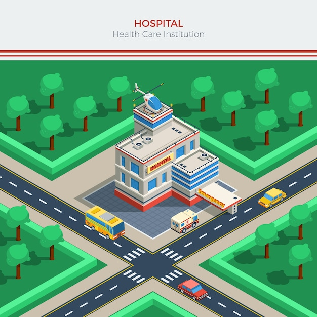 Isometric city constructor with hospital building Free Vector