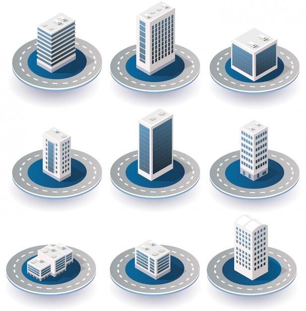 Isometric city icons Premium Vector