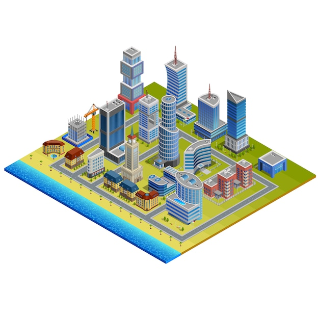 Isometric city illustration Free Vector