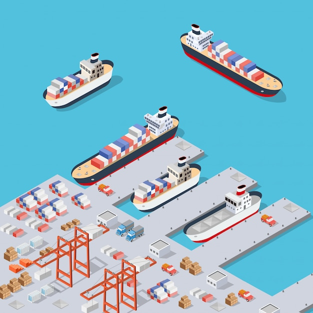 Isometric city industrial dock Premium Vector