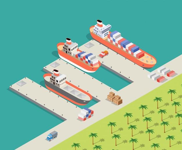 Isometric city industrial dock Premium Vector