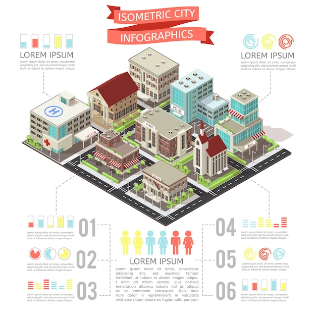 Isometric city infographic Premium Vector