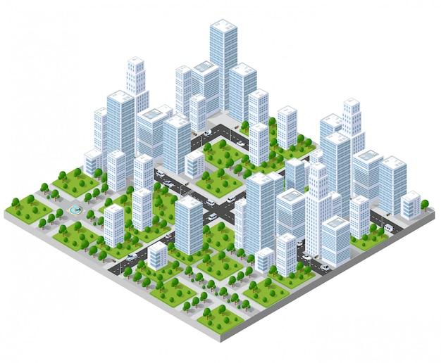 Isometric city landscape   Premium Vector
