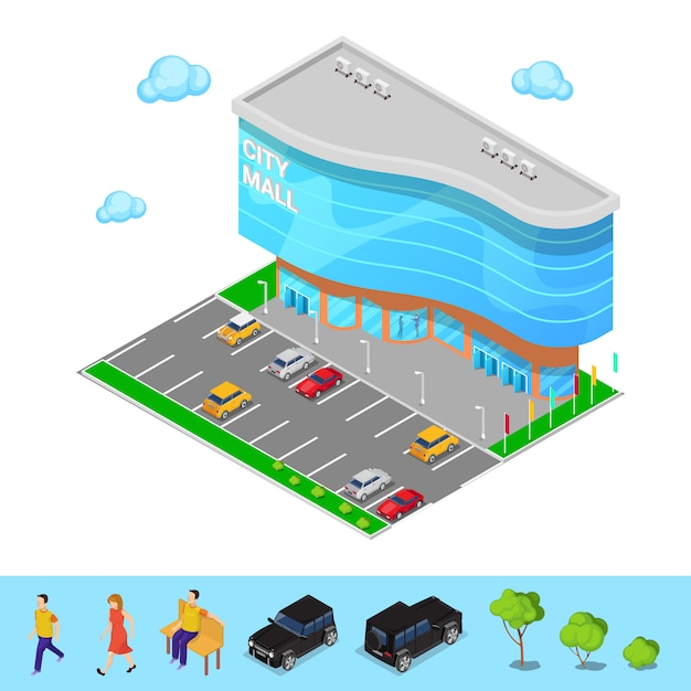 Isometric city mall. modern shopping center building with parking zone. vector illustration Premium Vector