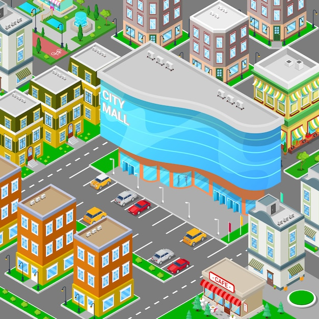Isometric city mall. modern shopping center building with parking zone. Premium Vector