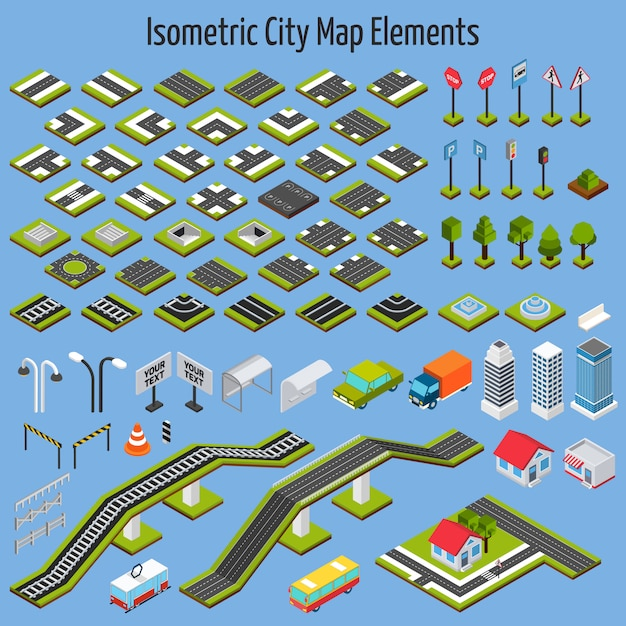 Isometric city map elements Free Vector